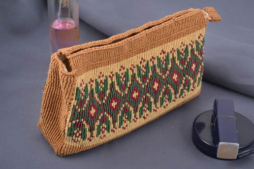 Handmade small beige macrame woven cosmetics bag with colorful ornament - MADEheart.com