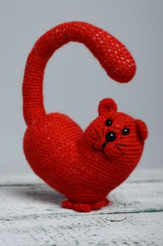 Soft crochet toy Red Cat - MADEheart.com