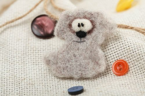 Handmade small animal brooch felted of natural wool gray dog for children - MADEheart.com