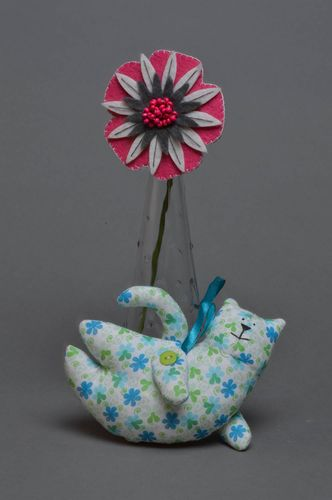 Handmade wall hanging soft toy sewn of blue and green patterned cotton fabric Cat - MADEheart.com