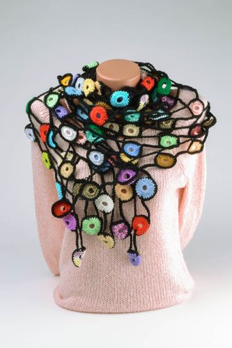 Multicolored crocheted scarf - MADEheart.com