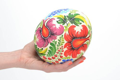 Decorated ostrich egg collector handmade gift for Easter - MADEheart.com