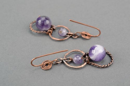 Ohrringe mit Amethyst (Wire-Wrap) - MADEheart.com