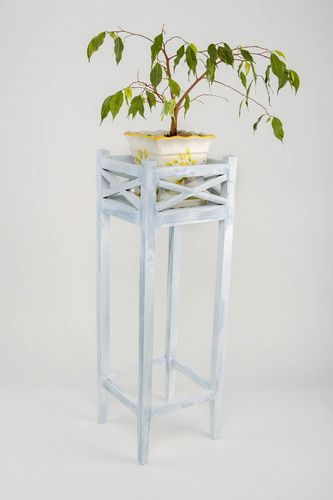 Unusual white handmade designer pine wood flower pot holder home decor - MADEheart.com