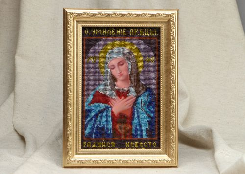 Bead embroidered icon The Virgin Mary of Tenderness - MADEheart.com