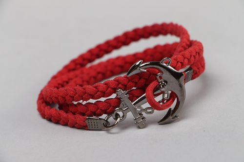 Handmade multi row marine bracelet woven of red artificial suede with anchor - MADEheart.com