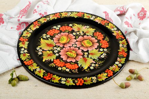 Handmade designer wooden plate stylish painted souvenir decorative use only - MADEheart.com