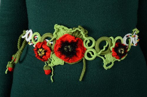 Homemade crochet acrylic and cotton flower belt for women - MADEheart.com