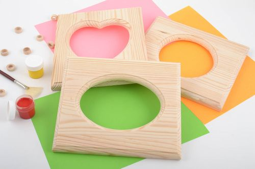 Set of 3 handmade wooden blank photo frames for painting and decoupage DIY - MADEheart.com