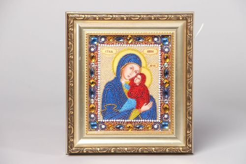 Icon embroidered with beads and stones - MADEheart.com