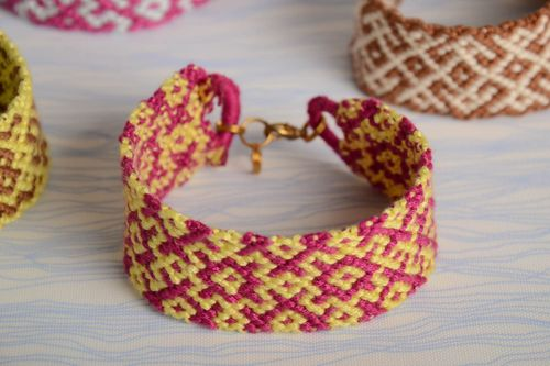 Pink and yellow handmade beautiful wide bracelet woven of embroidery floss - MADEheart.com