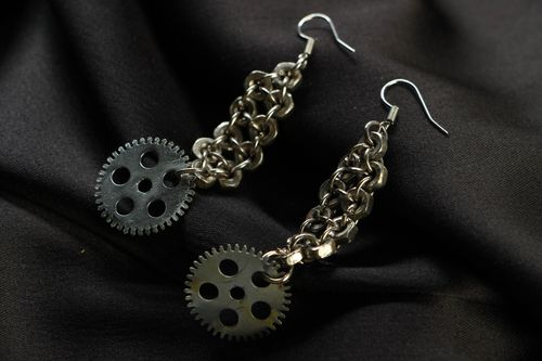 Designer metal earrings in steampunk and techno style - MADEheart.com