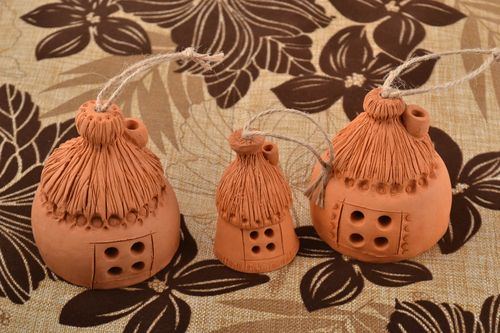 Beautiful handmade designer clay bells set 3 pieces Houses - MADEheart.com