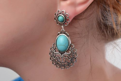 Large handmade elegant metal earrings with turquoise stone - MADEheart.com