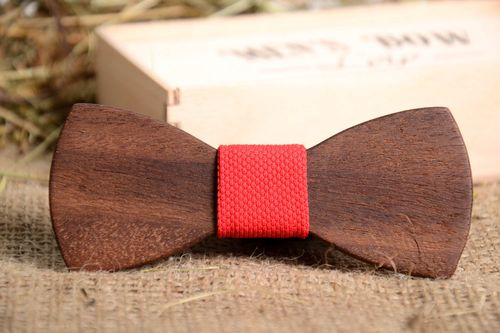 Unusual wooden bow tie stylish handmade accessory designer beautiful present - MADEheart.com