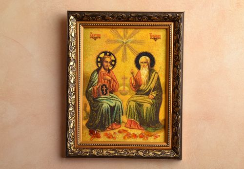 Orthodox amber icon The Holy Trinity - MADEheart.com