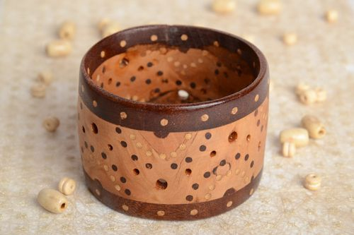 Handmade two-colored wide wooden wrist bracelet with inlay and perforation  - MADEheart.com