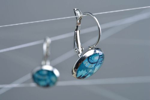 Handmade designer round decoupage earrings coated with epoxy resin - MADEheart.com