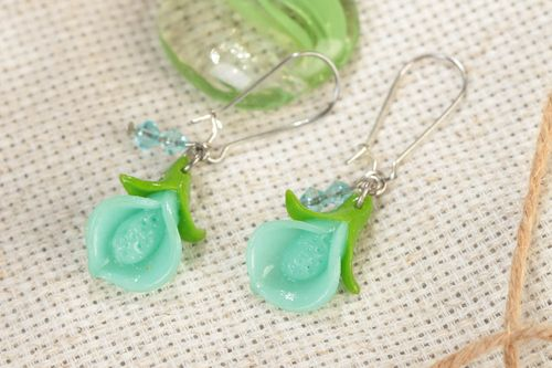 Handmade summer dangling earrings with polymer clay flowers of mint color shade - MADEheart.com