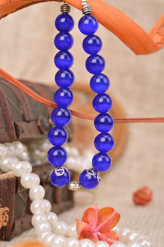 Handmade glass bead wrist bracelet of blue color for women designer laconic - MADEheart.com