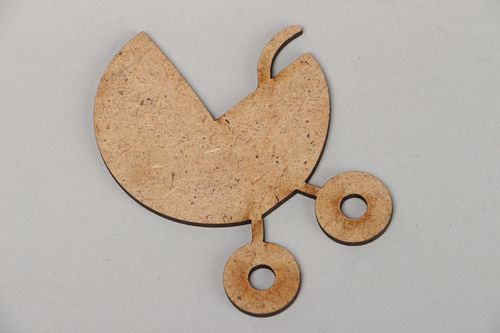 Plywood craft blank for decoration of baby photo album Baby Carriage - MADEheart.com