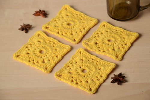 Unusual handmade crochet coaster hot pads table decor ideas small gifts - MADEheart.com