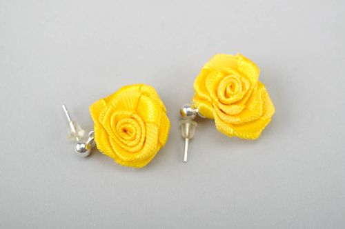 Earrings made of satin ribbons Yellow Rose - MADEheart.com