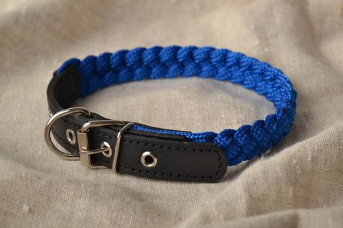 Leather dog collar with braiding - MADEheart.com