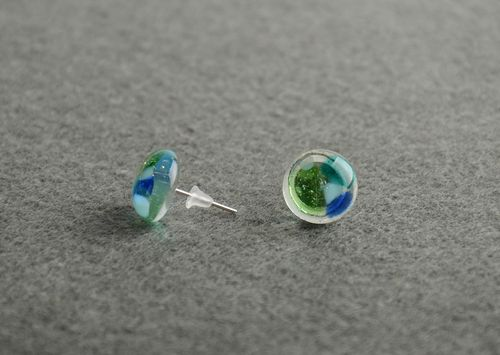 Colored stud earrings fusing glass handmade small round beautiful jewelry - MADEheart.com