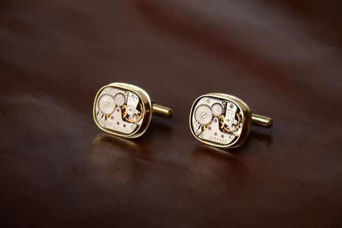 Steampunk brass handmade stylish cufflinks square unisex accessory  - MADEheart.com