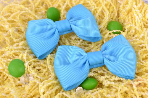 Handmade beautiful blue hair bows set of 2 pieces hair accessories - MADEheart.com