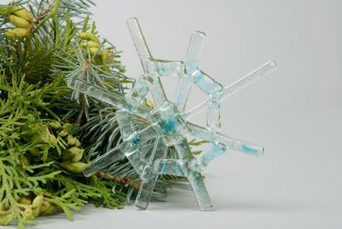 New Years glass decoration Melting snowflake - MADEheart.com