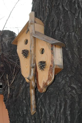 Wooden birdhouse for two families - MADEheart.com