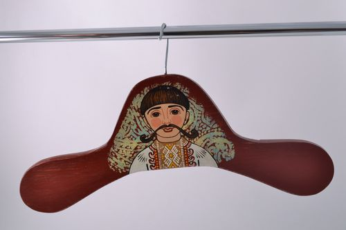 Handmade large decorative wooden clothes hanger with colorful ethnic painting - MADEheart.com