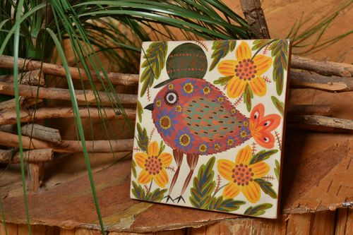 Handmade designer ceramic facing tile painted brightly with natural dyes engobes - MADEheart.com
