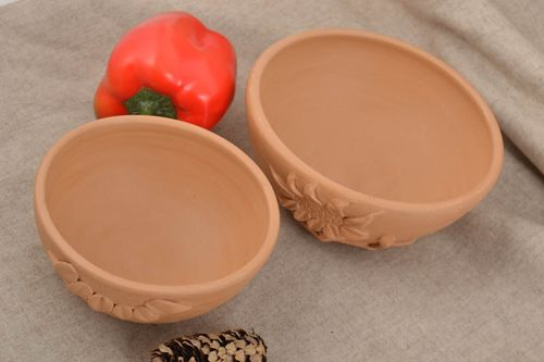 Set of handmade clay bowls 2 pieces of different sizes beautiful kitchen pottery - MADEheart.com
