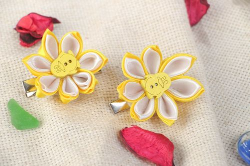Set of handmade hairpins made using kanzashi technique in yellow color for children - MADEheart.com