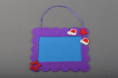 Handmade decorative bright felt photo frame of violet color for childrens room - MADEheart.com