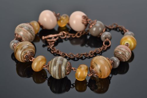 Lampwork glass bead necklace - MADEheart.com