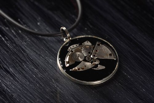 Handmade designer unique steampunk necklace metal pendant with epoxy resin - MADEheart.com