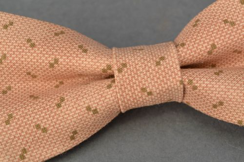 Fabric bow tie of beige color - MADEheart.com