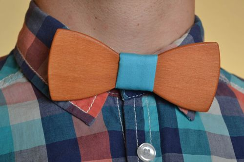 Handmade designer wooden bow tie with light blue fabric strap - MADEheart.com