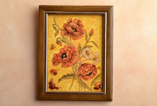 Handmade painting decorated with amber Poppies - MADEheart.com
