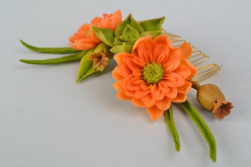 Self-hardening clay hair comb Orange Bouquet - MADEheart.com