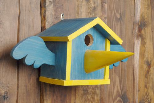 Painted wooden birdhouse with nose - MADEheart.com