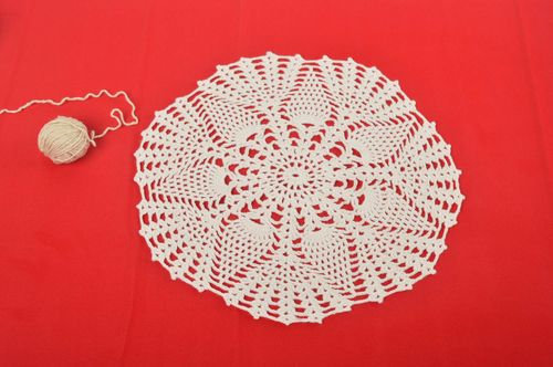 Handmade openwork napkin home decor white crocheted napkin crocheted cloth  - MADEheart.com