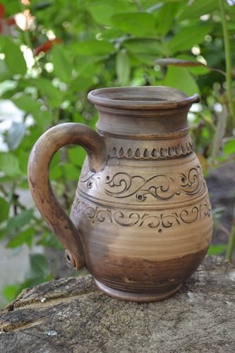 Beautiful handmade large pitcher for coffee molded of white clay for 1 l - MADEheart.com