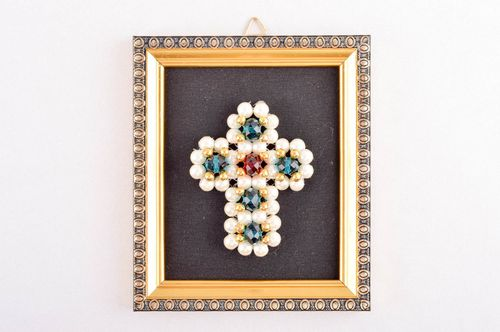 Handmade orthodox cross unusual interior decor religious amulet wall decor - MADEheart.com
