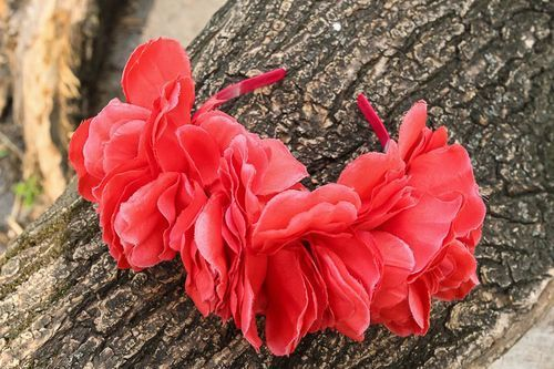 Large headband with artificial flowers  Peonies - MADEheart.com
