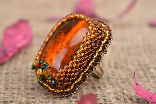 Handmade stylish unusual ring embroidered with beads with natural stone - MADEheart.com